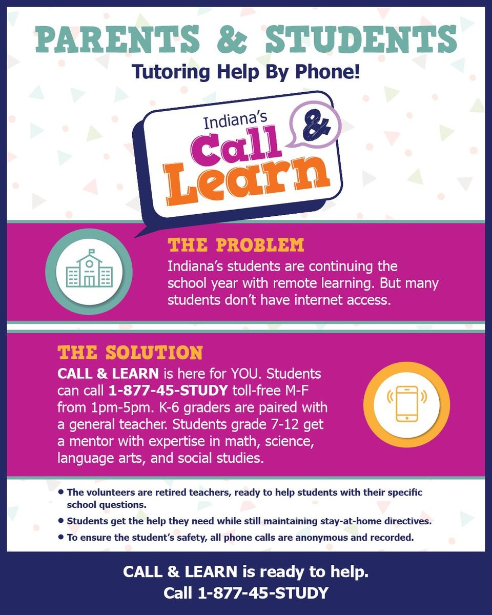 Please find attached two flyers announcing the opening of a student/parent support hotline that will be operated by members of the Indiana Retired Teachers Association. The IRTA will be providing academic assistance to all students free of charge. https://t.co/V1RBk1CU4Z