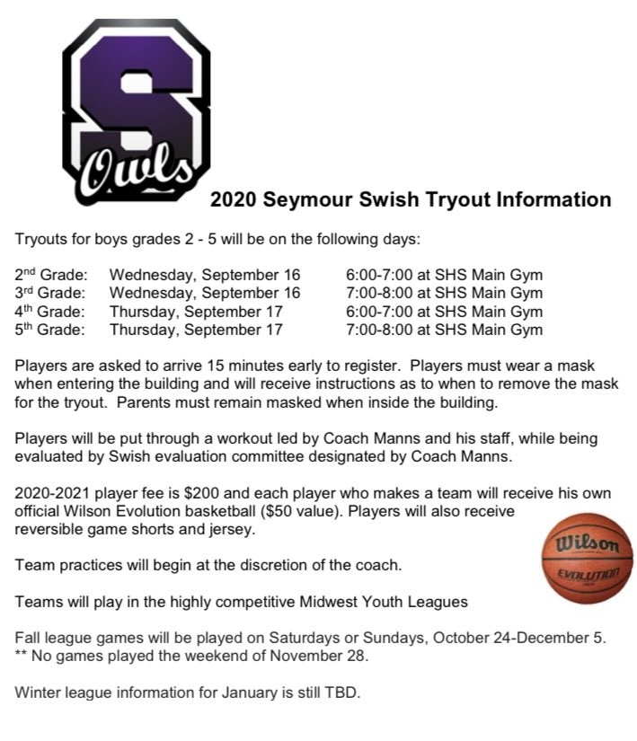 Seymour Swish tryout information announced for boys in grades 2-5. Looking forward to working with our next generation of Owl Hoops. #GoOwls pic.twitter.com/1YhKLiDJCH