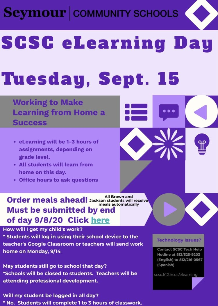 Reminder to all SCSC families. Tuesday, September 15th will be an E-Learning day for all students. Today is the last day to submit a lunch order for Redding students wishing to purchase school lunches. https://t.co/rG4GMBDyjP
