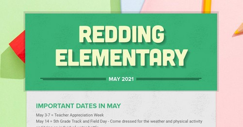 Dear Redding Families,It's hard to believe we are approaching the last month of the school year. Our kids are wrapping up state assessments and beginning end of year district assessments. Please take a moment to review our Newsletter. https://t.co/Cm0RCpC2bP #StingersUp #RiseUp